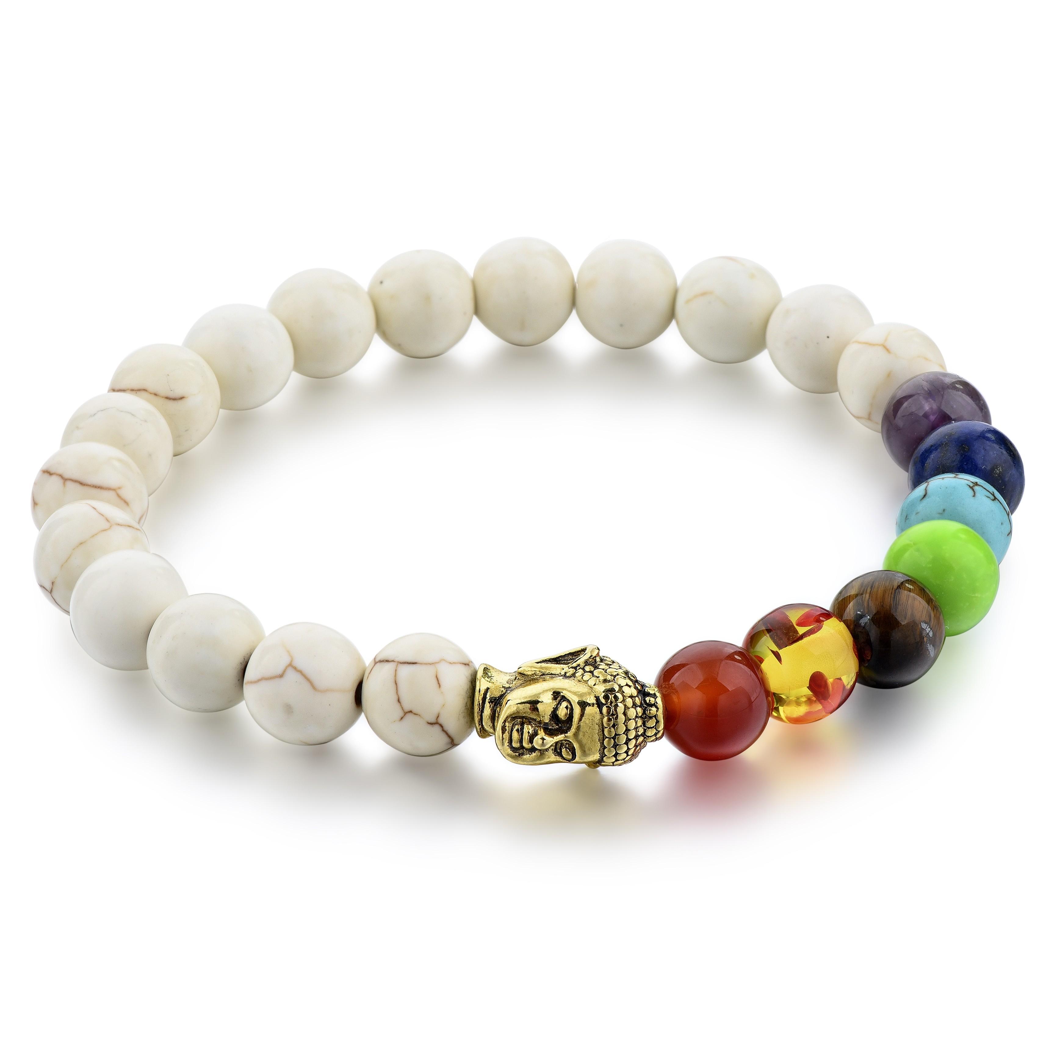 Bracelet howlite blanche et 7 chakras - bouddha
