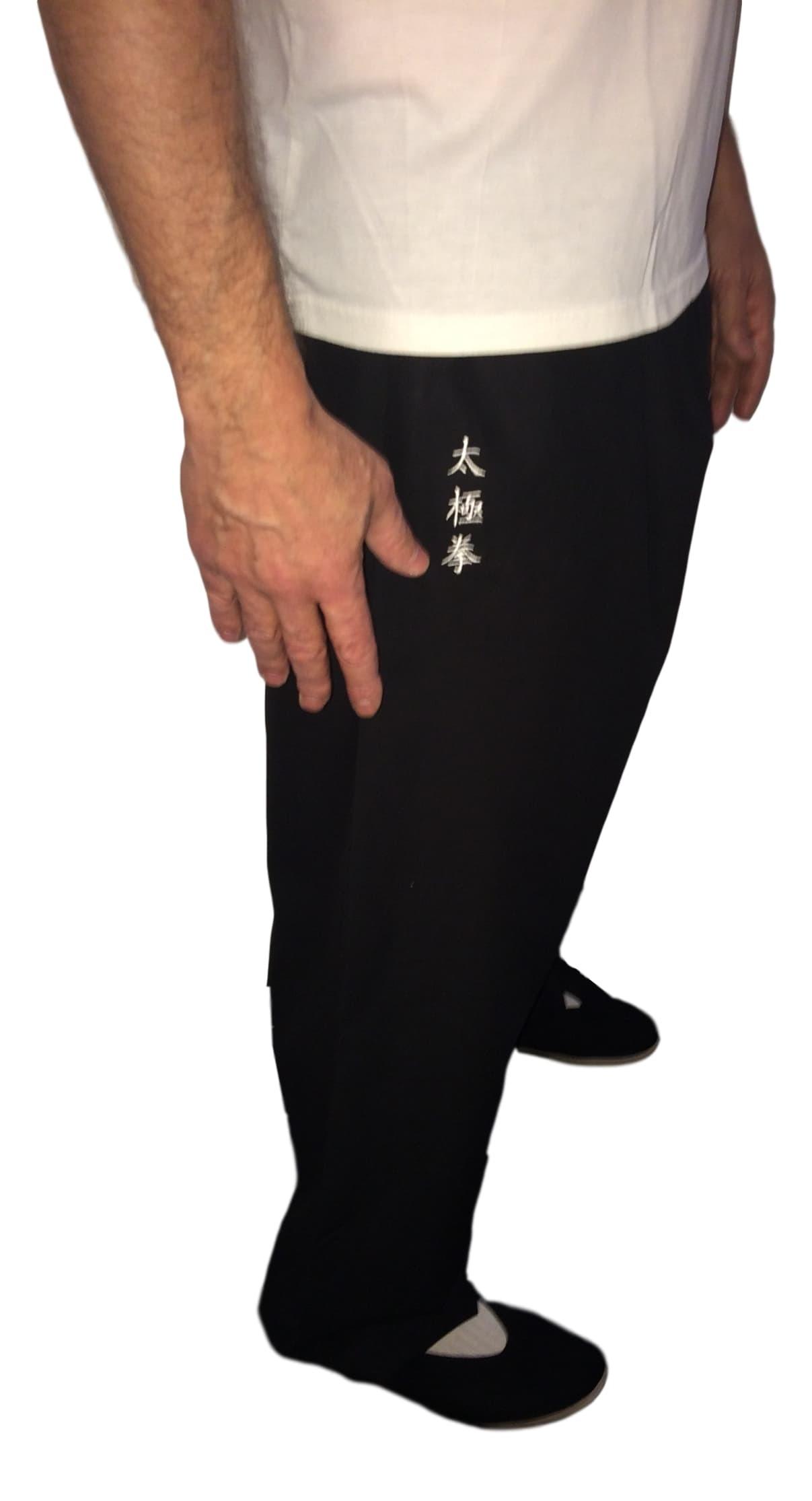 Pantalon avec broderie idéogramme TAIJIQUAN
