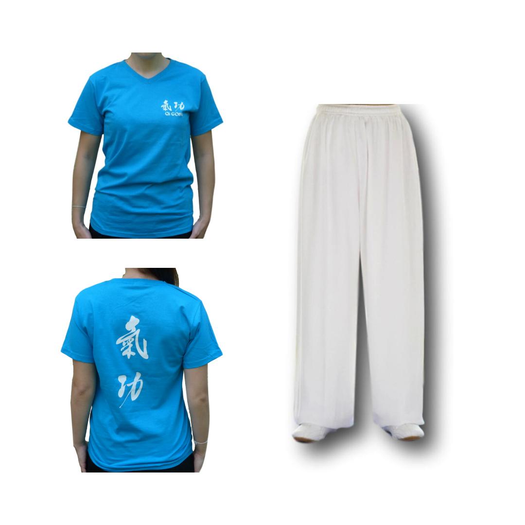 Set pantalon blanc + tee-shirt Qi gong bleu azur