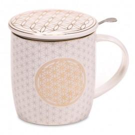 Mug infuseur à thé fleur de vie