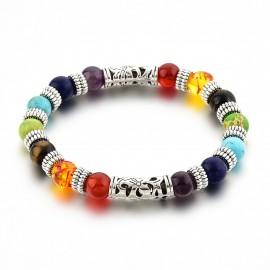 Bracelet en pierres 7 chakras et argenté