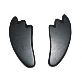 "set de 2 pierres de massage en basalte style ""Guasha"""
