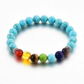 Bracelet en pierre turquoise et 7 chakras