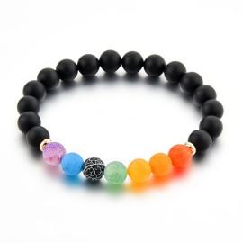 Bracelet en pierre naturelle onyx et 7 chakras