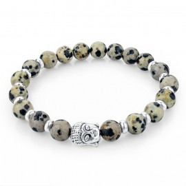 Bracelet pierres naturelles beige - bouddha