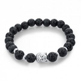 Bracelet pierre noire - bouddha