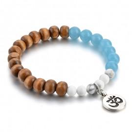 Bracelet bois/aigue marine/magnésite - OM