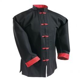 Veste noire avec parements et boutons brandebourg rouge / 100% coton