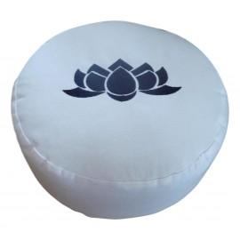 Zafu rond blanc avec lotus bleu