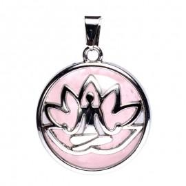 Pendentif méditation lotus avec quartz rose