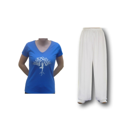 Set pantalon blanc + tee-shirt de yoga