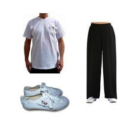 Set pantalon en lin noir + tee-shirt Qi gong blanc + chaussures TAO
