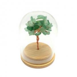 Mini arbre du bonheur sous cloche en pierre naturelle aventurine verte