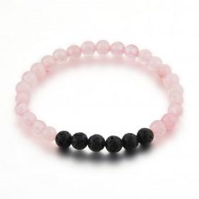 Bracelet en pierres quartz rose et pierre de lave