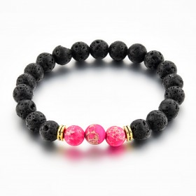 Bracelet pierre rose et pierre de lave