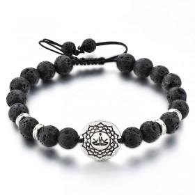 Bracelet ajustable - pierre de lave et OM